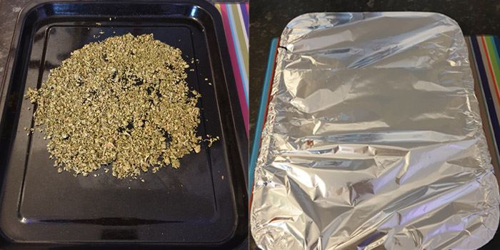 CANNABIS ON THE TRAY READY TO BE DECARBOXOLATED BEFORE BEING MADE IN VAPE JUICE